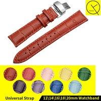 12mm 14mm 16mm 18mm 20mm Genuine Leather Watch Band Strap cinturino Cinturino Rosso Giallo Viola Verde Arancione Rosa Blu Donna + strumenti