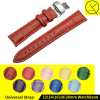 12mm 14mm 16mm 18mm 20mm Genuine Leather Watch Band Strap Watchband Strap Red Yellow Purple Green