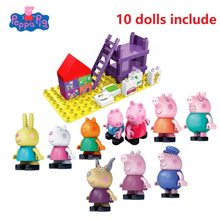 Véritable Peppa Pig deluxe playhouse blocs de construction jouet-y compris George Suzy bonbons Rebecca antilope Compatible avec LEGOg(China)