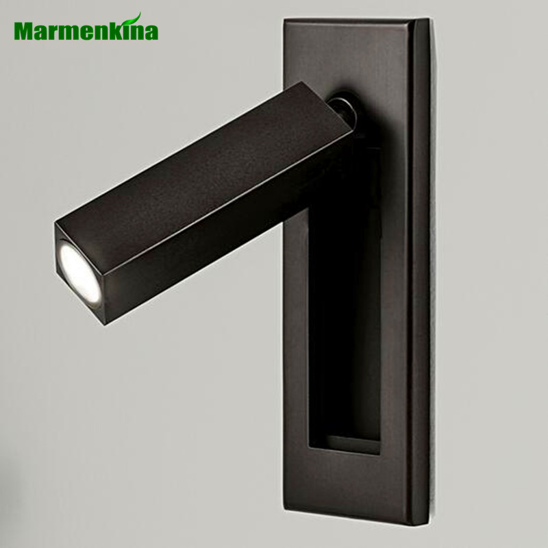 Bedside Reading Wall Lamp 3W LED Recessed Wall Lamp Hotel Room LED Indoor Light Rotating Folding Wall Lamp AC110-240V