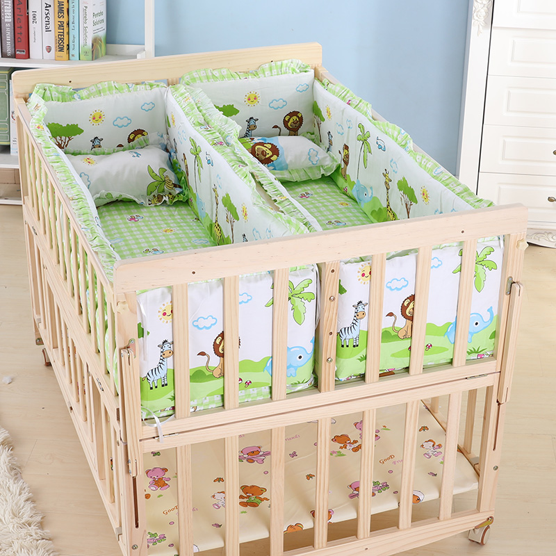 Multifunction Baby Cot Twin Baby Crib Solid Wood Baby