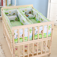 Multifunction Baby Cot Twin Baby Crib Solid Wood Baby Cradle Rolling Baby Playpen Crib for Newborn Can Be Learning Desk