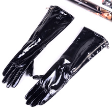 30cm-80cm Womens Ladies Genuine leather Shiny Black Patent Leather Zipper Gloves Party Evening long gloves
