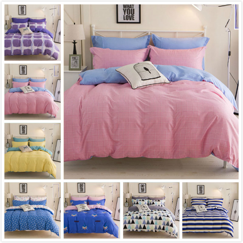 Pink Blue Geometric 4pcs Bedding Set Queen Twin Doubel Size Bed Sheet 1.5m 1.8m 2.0m Duvet Cover Pillowcase Child Girl Bedlinens