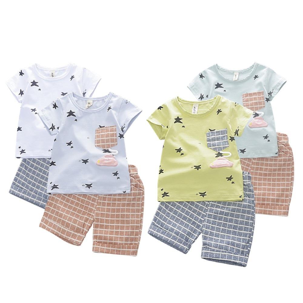 Baby Clothing Set 2018 Fashion Hot Sales Unisex Star Printed Cotton Short Sleeve T Shirt + Plaid Shorts 2 Pieces Set Clothing
