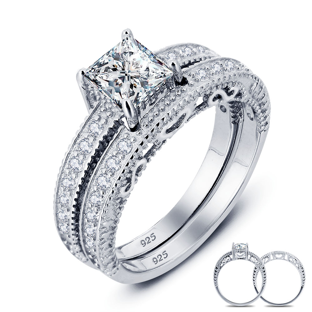 Ustyle Vintage Style Victorian 1 Carat Created Real Sterling 925 Silver  2pc Wedding Engagement