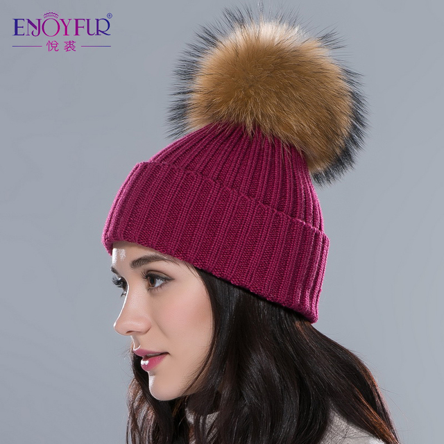 ENJOYFUR Women hat with raccoon silver fur pom poms hats unisex multicolors flexible outdoor snow caps Autumn Winter fashion hat