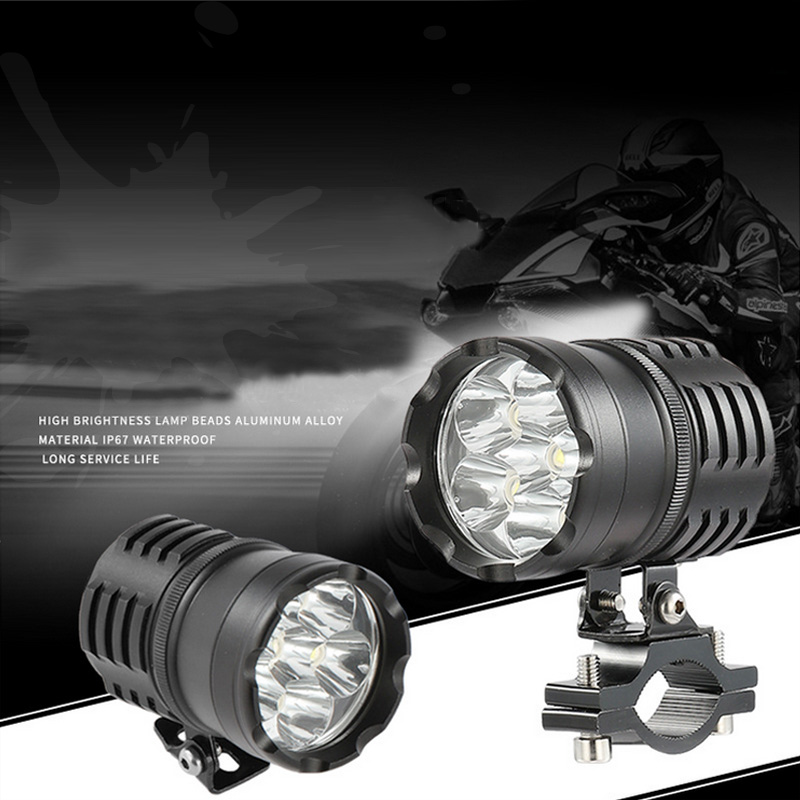 Newest LED Motorcycle Headlight Fog Lights Lamp Auxiliary Driving Motorbike High Brightness White 6000k Bicycle Auxiliary Lights