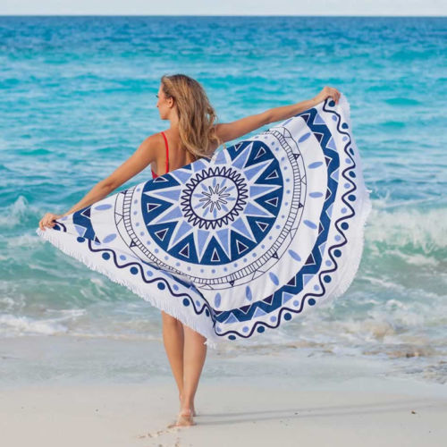 Soft Round Beach Towel Tassel Decor 148cm/58'' Sport Travel Hiking Swim Table towel Woman Floral Geometric Print Yoga Blanket