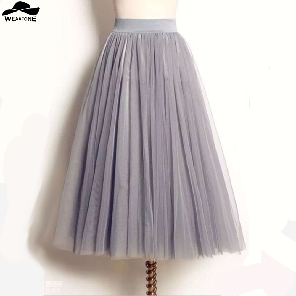 rivenditore di vendita 8821d c56ad US $12.12 46% OFF|Women Lady Gonna Tulle Princess Skirt Fairy Style Voile  Tulle Skirt Bouffant Puffy Femme Long Multilayer falda tul mujer Skirts-in  ...