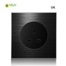 цена на UK France Germany socket 86 type 1 2 3 4 gang 1 2way black aluminum alloy panel Switch socket  Five hole Europe Industry Switch