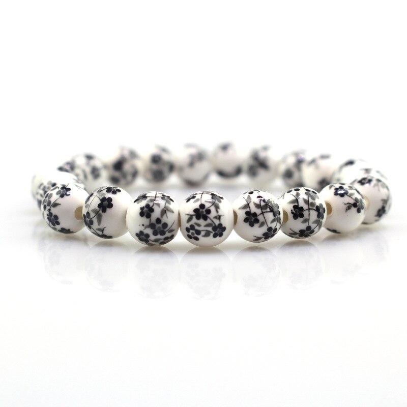 8mm Black Flowers Ceramic Beads Chinese Classical Style Women Girls Bracelet Birthday Souvenir Xmas Gift
