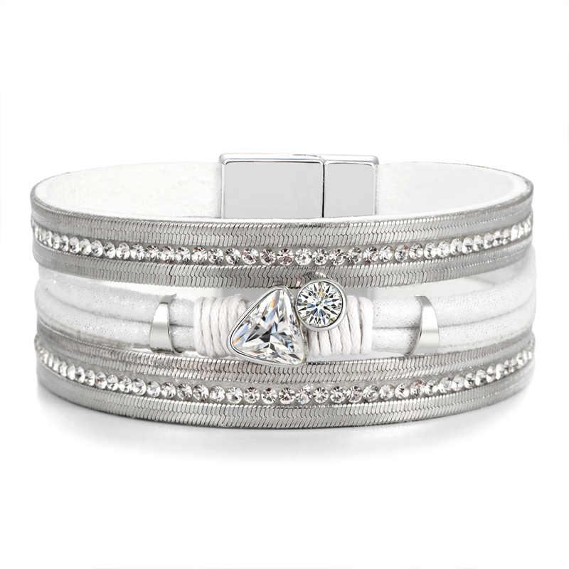 Fashion Jewelry Bracelet Ladies Women Leather Bracelet Crystal Beads Stainless Steel Charms Multilayer Wrap Bracelet Bangles