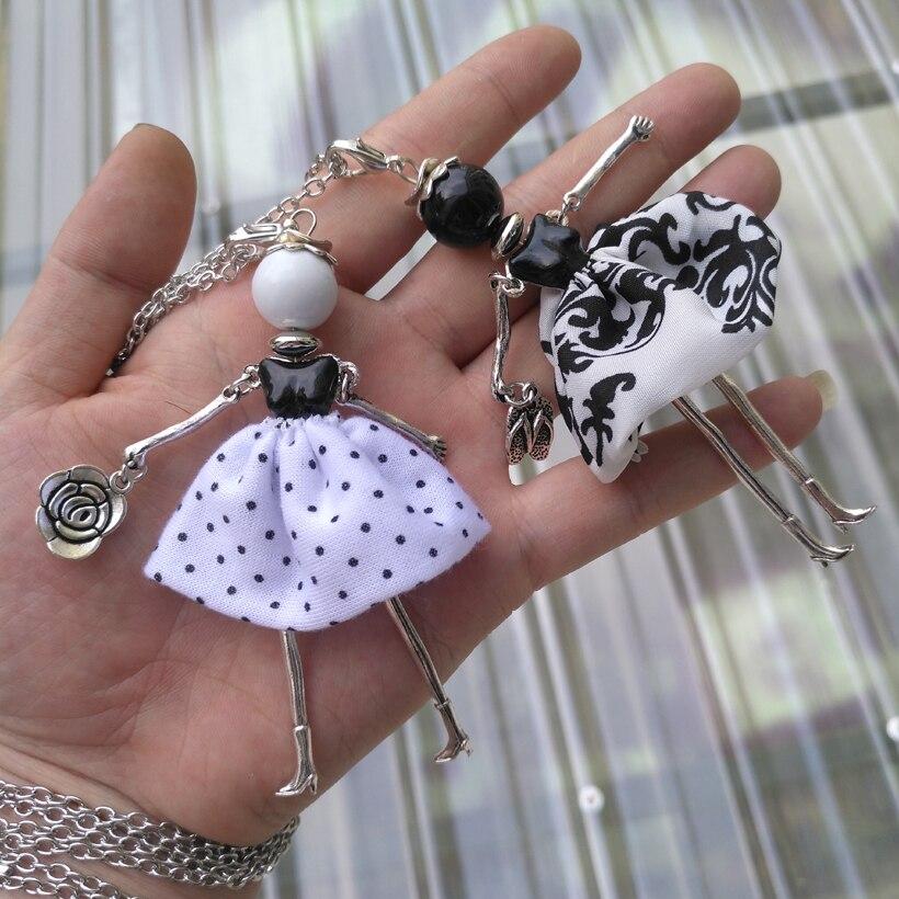 YLWHJJ marque mignon français poupée femmes longue chaîne à la mode Collier chaud blanc noir filles pendentif maxi mode bijoux Collier femmes