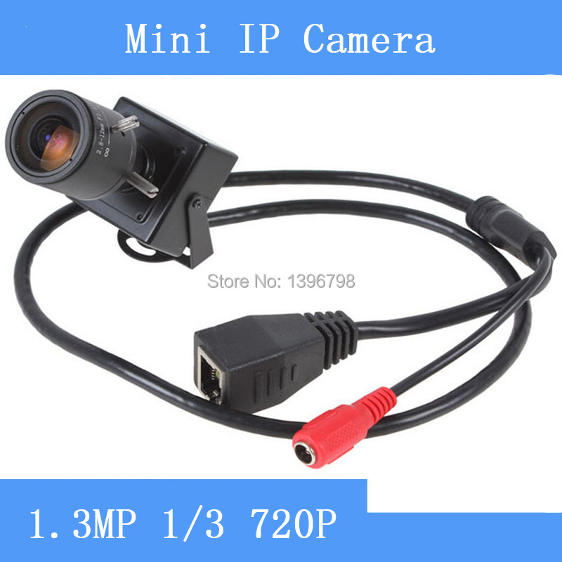 Caméra IP HP 1280x720 P 1/3 ''CMOS 1.3MP Mini Onvif 2.0 avec objectif Zoom varifocale manuel 2.8-12mm Surveillance de sécurité P2P