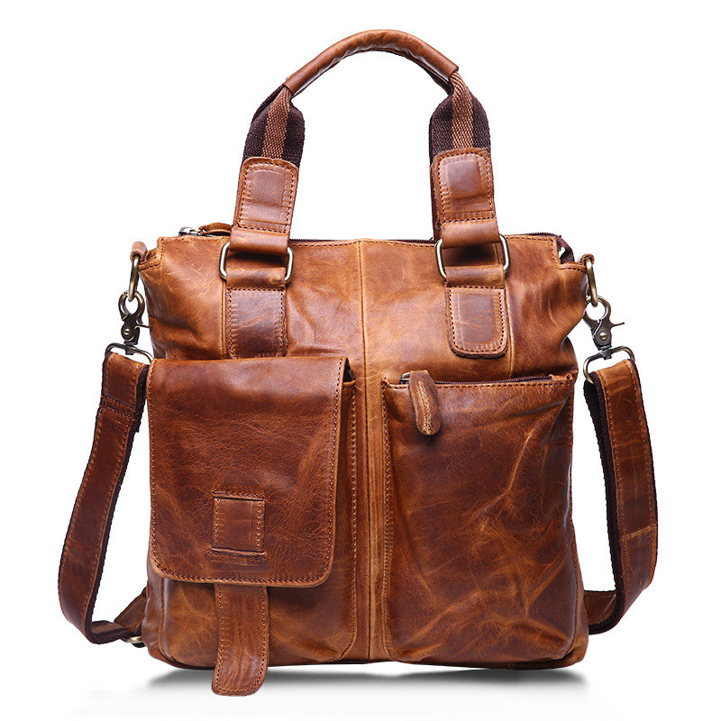 Genuine Leather Men Vintage Bag Briefcase Fashion Man Business Handbag Men's Messenger Bags Brand Male Shoulder bag Tote for Men cossloo promotion authentic brand composite leather bag men s travel bags casual male shoulder briefcase for business man
