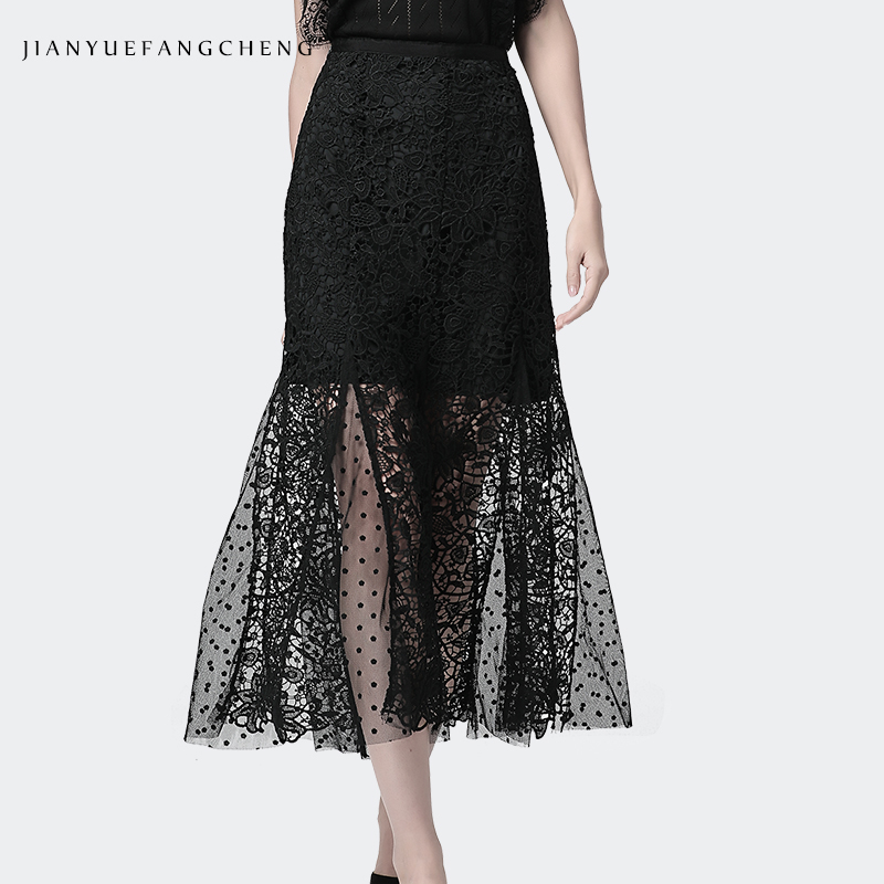 Summer Long Lace Skirt High Waist Sexy Black White Hip Wrapped Hollow Out Floral Design Plus Size Streetwear Ladies Skirts