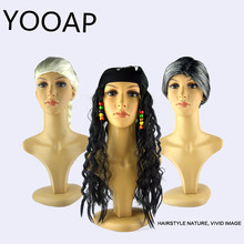 yooap Halloween ball party dress up grandmother pirate long wig white scorpion fake development