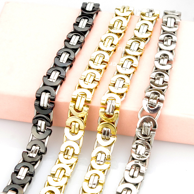bdeb6acbfe135d Fashion Jewelry Flat Byzantine Chain Link Bracelet For MEN WOMEN Stainless steel  Gold Color Jewellery Silver Biker HB006