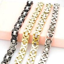 Fashion Jewelry Flat Byzantine Chain Link Bracelet For MEN WOMEN Stainless steel Gold Color Jewellery Silver Biker HB006