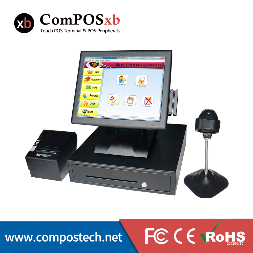 Full set 15'' Touch Screen shop All in One POS System/Cashier POS Machine with Receipt printer/barcode scanner/cash drawer