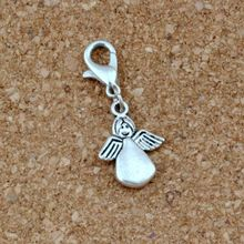 100pcs/lots Antique Silver Angel Floating Lobster Clasps Charm Beads Fit Bracelet DIY Jewelry 12x32mm A-489b