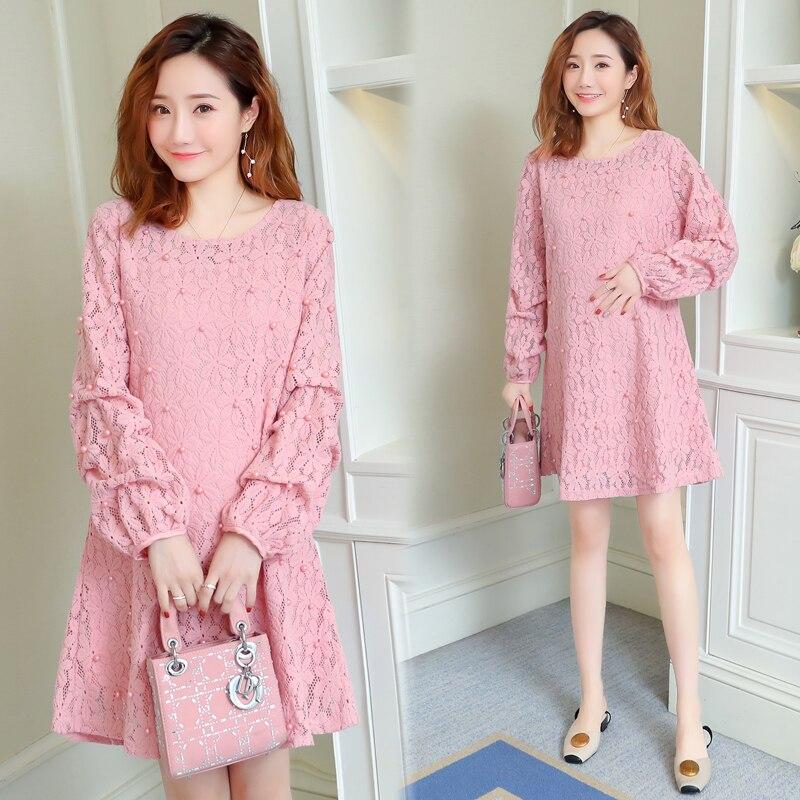 Us 2199 2019 Spring Women Dress Long Sleeve Mid Length Loose Pink Lace Dress Pearl Pregnant Women Dresses Plus Size Dress Elegant Female In Dresses