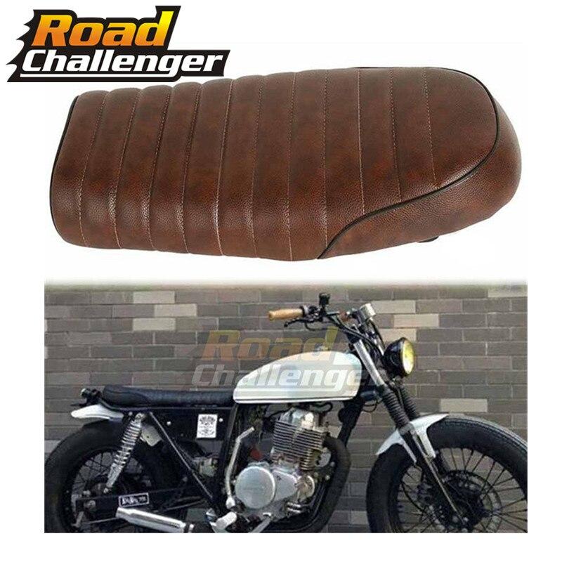 Brown Motorcycle Cafe Racer Seat Scrambler Vintage Flat Saddle Flat pan Retro Seat For Honda CB350 CB450 CB750 CB200