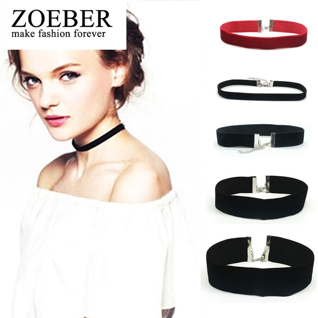 ZORBER trendy Black Velvet Choker Necklace 90's for Women Statement plain Ribbon Gothic round Retro Burlesque rope chain Jewelry