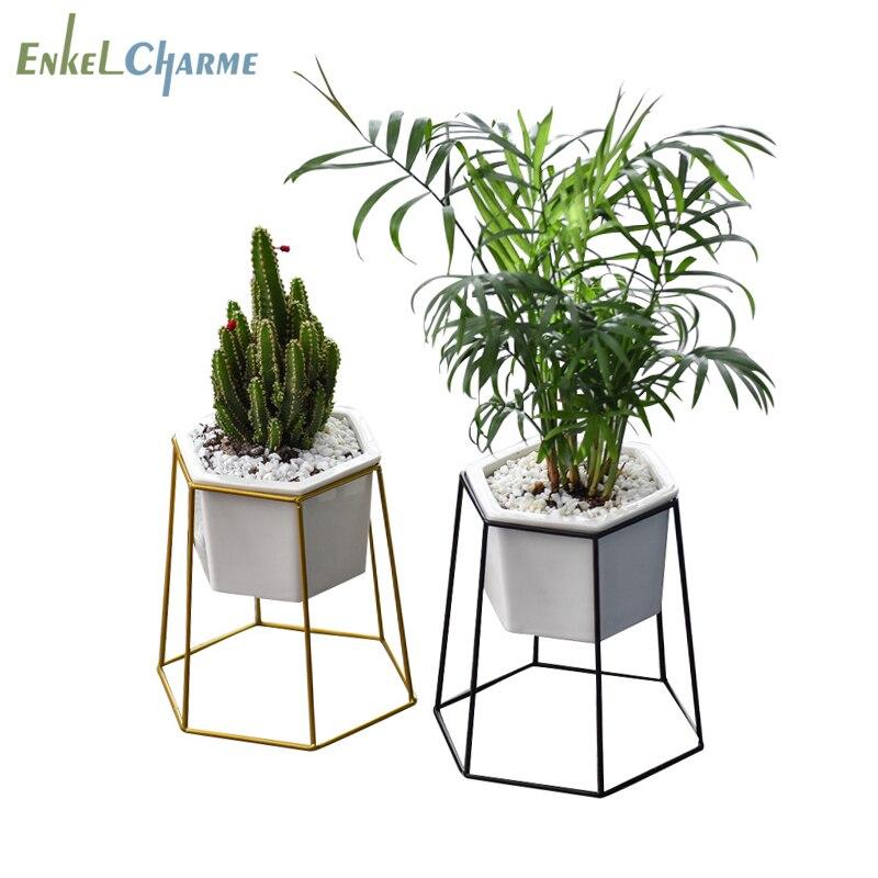 Geometric Cactus Hexagon Succulent Flower Pots Ceramic Flowerpot Iron Plant Stand Holder Garden Balcony Desktop Decorative Vasi Plant Stand