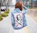 2017 Мода Куртки новый тонкий Джинсовые Куртки женский личность печати диких тонкие отверстия Джинсы, Пиджаки, Пальто