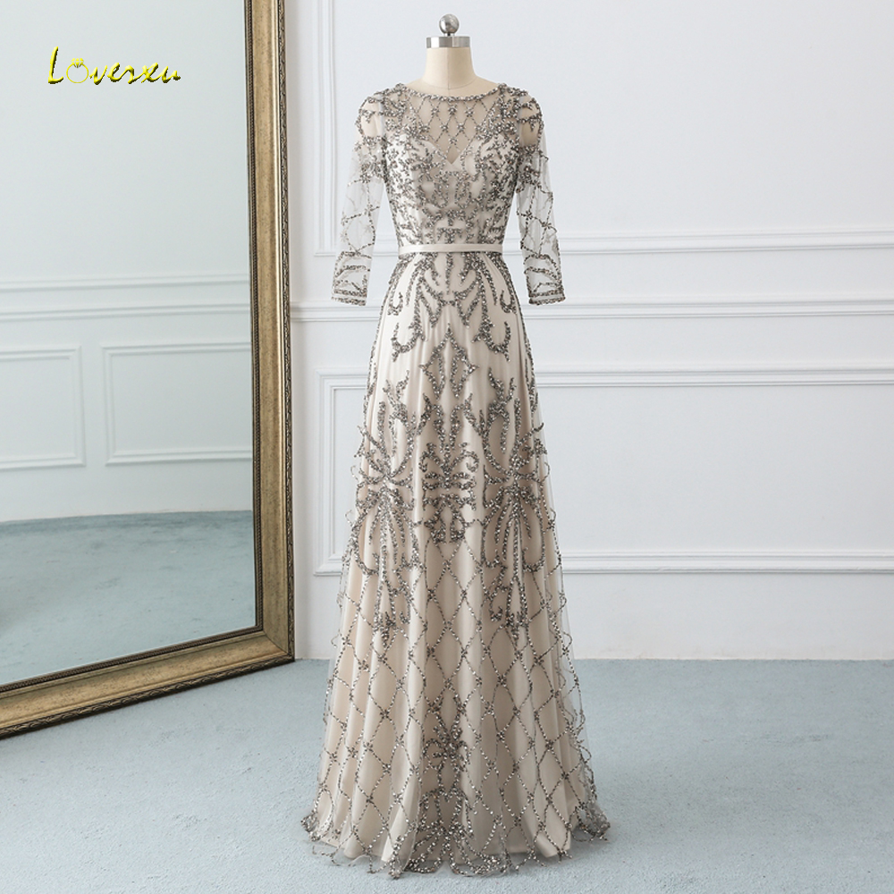 Loverxu Elegant O Neck Long Sleeve Straight   Prom     Dress   2019 Sexy Beaded Crystal Pattern Vintage   Dress   for Party Vestido De Festa