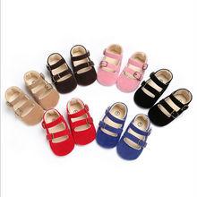 Новорожденный ребенок пряжки для девочек обувь с нескользящей подошвой; с Т-образным ремешком кожаные мягкие детские туфли повседневная обувь летние mossicans