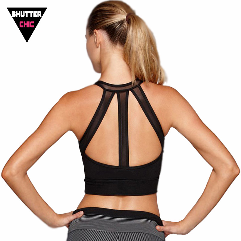 Shutterchic Mesh Splice Sport Bra Women Black Fitness ...