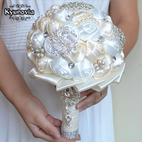 Best Price White Ivory Brooch Bouquet Wedding Bouquet De Mariage Polyester Wedding Bouquets Pearl Flowers Buque