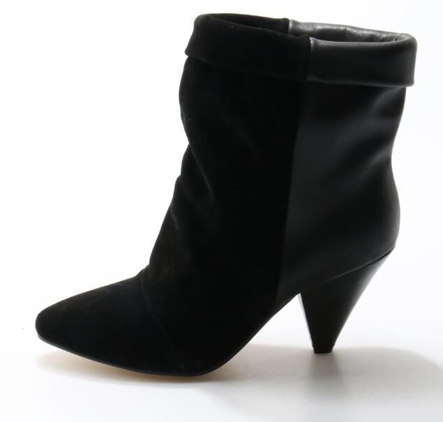 Gullick Marca Camoscio Nero Fold-Over Stivale Alla Caviglia Scarpe A Punta Cono Scarpe Tacco Bootie Donna 2018 Spring Dress Inverno Real Photo