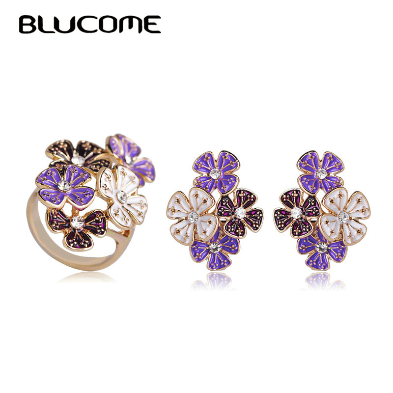 Blucome Fashion Style Purple Flower Big Stud Earrings Rings Set Gold Color Enamel Jewelry Sets Women Holiday Party Accessories