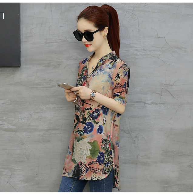 28975c28aa9d98 Mujer Short Sleeve Shirts Plus Size Tops Womens Vintage Floral Print Blouses  Casual Cotton Linen Blusas