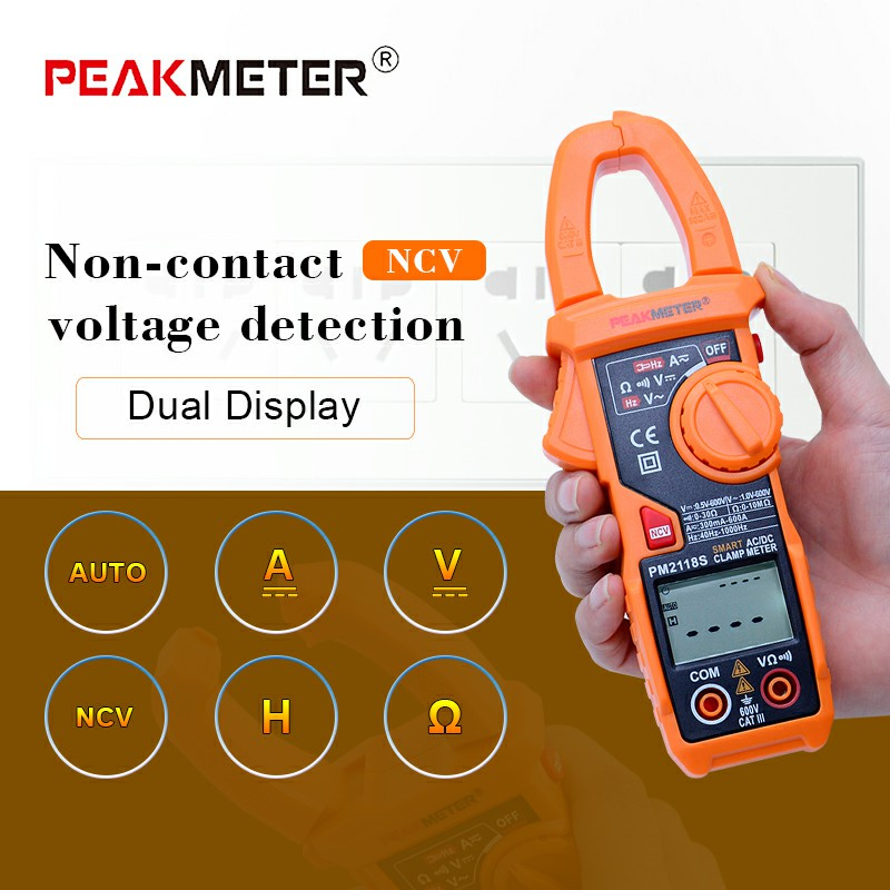 PEAKMETER Portable Smart AC/DC Clamp Meter Multimeter AC Current Voltage Resistance Continuity Measurement Tester with NCV цена