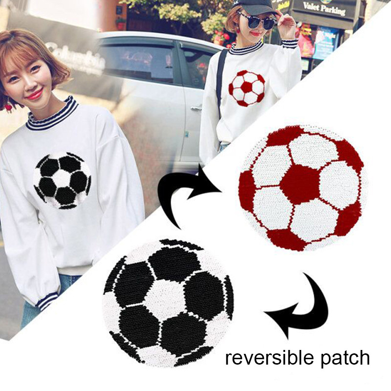 Football Reversible Change Sequin Sew On Patches for clothes Kids Boy Girl T Shirt Coat Embroidered Reverse Heart Patch Applique in Patches from Home Garden