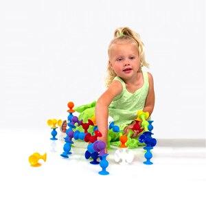 Image 2 - New Softบล็อกอาคารเด็กDIY Pop Squigz Suckerซิลิโคนบล็อกชุดก่อสร้างของเล่นของขวัญสร้างสรรค์สำหรับเด็ก