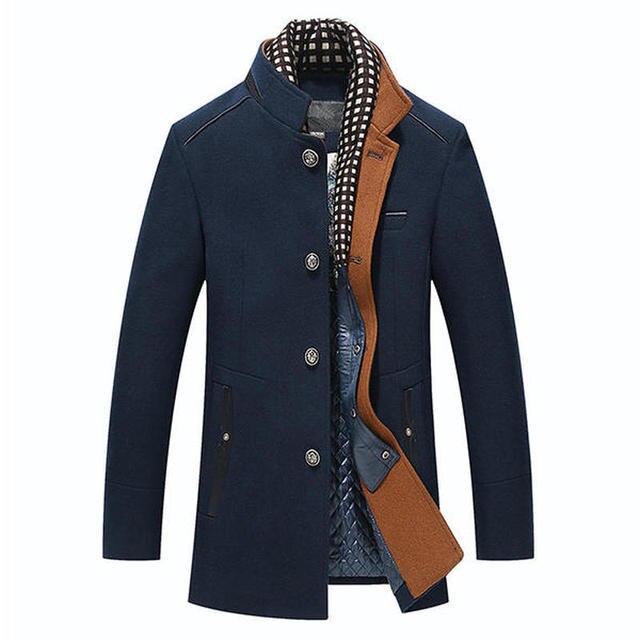 Top Sale men jacket 2018 Coats Autumn Winter Casual Stand Collar Scarf Detachable Stylish Woolen Overcoat Jacket for Men