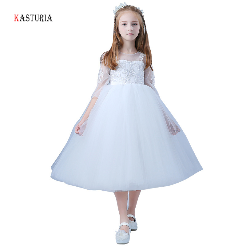 New Fashion white Girls dress floral kids princess dresses for girls o-neck three quarter sleeve unicorn party children dress tassel tie neck trumpet sleeve tiered floral dress