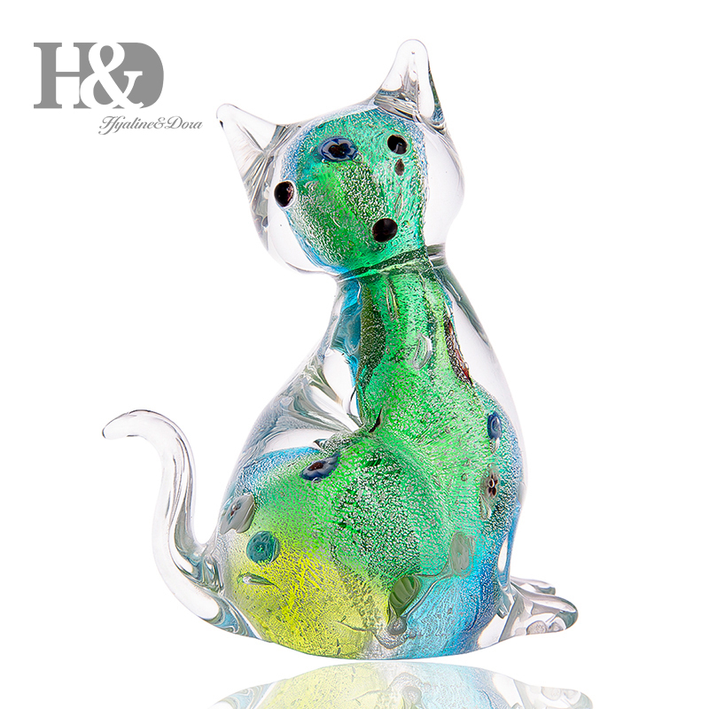 H&D 3.9inch Handmade Glass Cat Ornament Animal Figurine Handblown Home Decor Decoration Figurines For Office Creative Craft