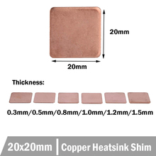 50pcs 20x20mm Copper Heatsinks Copper Pad 0.3mm 0.5mm 0.8mm 1.2mm 1.5mm Heatsink Copper Shim Thermal Pads for Laptop IC copper plate sheet 0 8x100x100mm c11000 iso plates high pure 99 9% cu tablets strip shim thermal pad diy material cool metal art