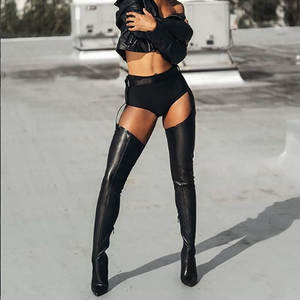 Over-The-Knee-Boots Women Shoes High-Boot Rihanna-Style Pointed-Toe PU for 10cm New