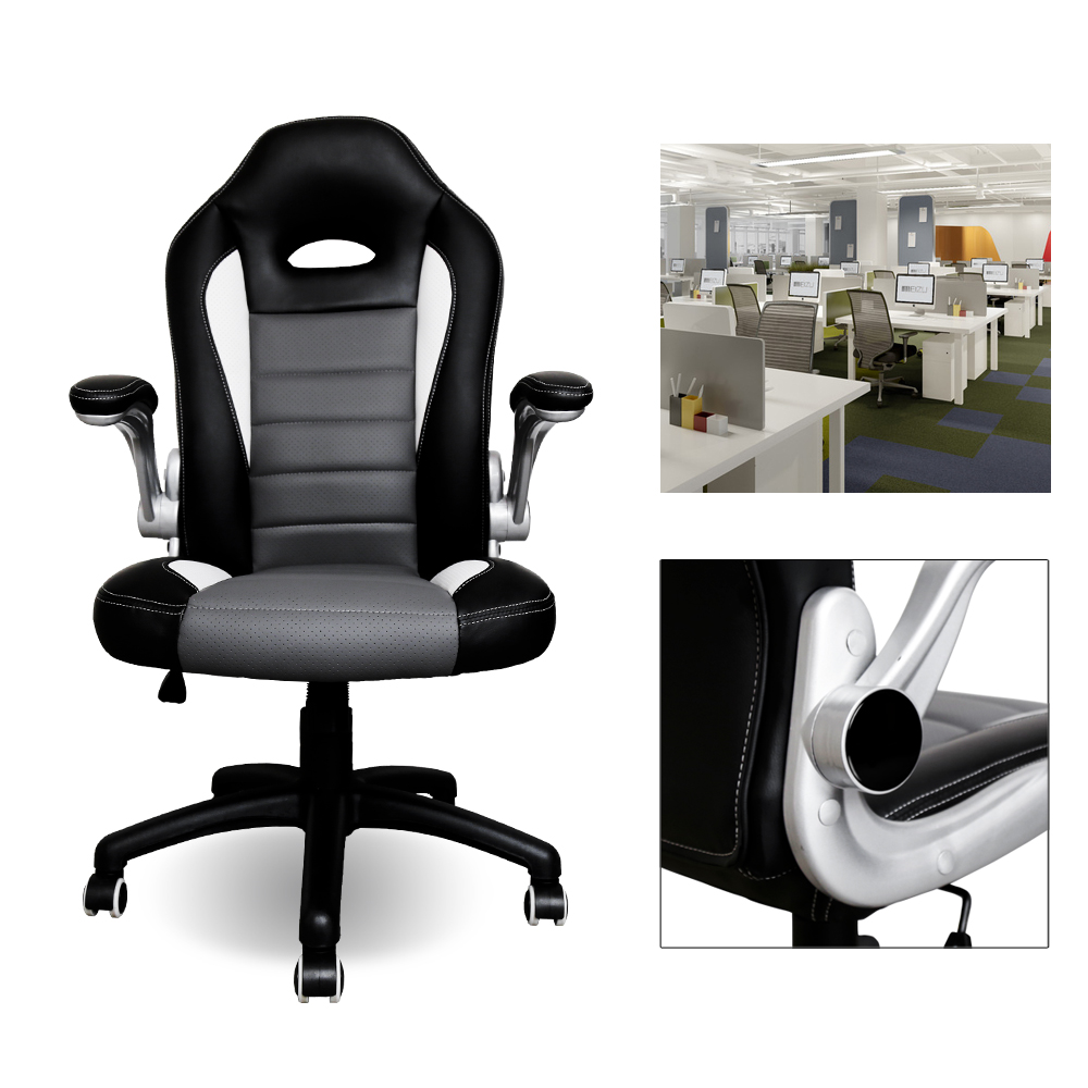 Height 115-123CM Office Chair PU Leather Computer Racing chair Color Black with Grey Adjustable Seat Height movable armrest homall bar stool walnut bentwood adjustable height leather bar stools with black vinyl seat extremely comfy with seat back pad