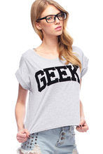 "Awesome ""GEEK"" girlie shirt (gray & black color)"