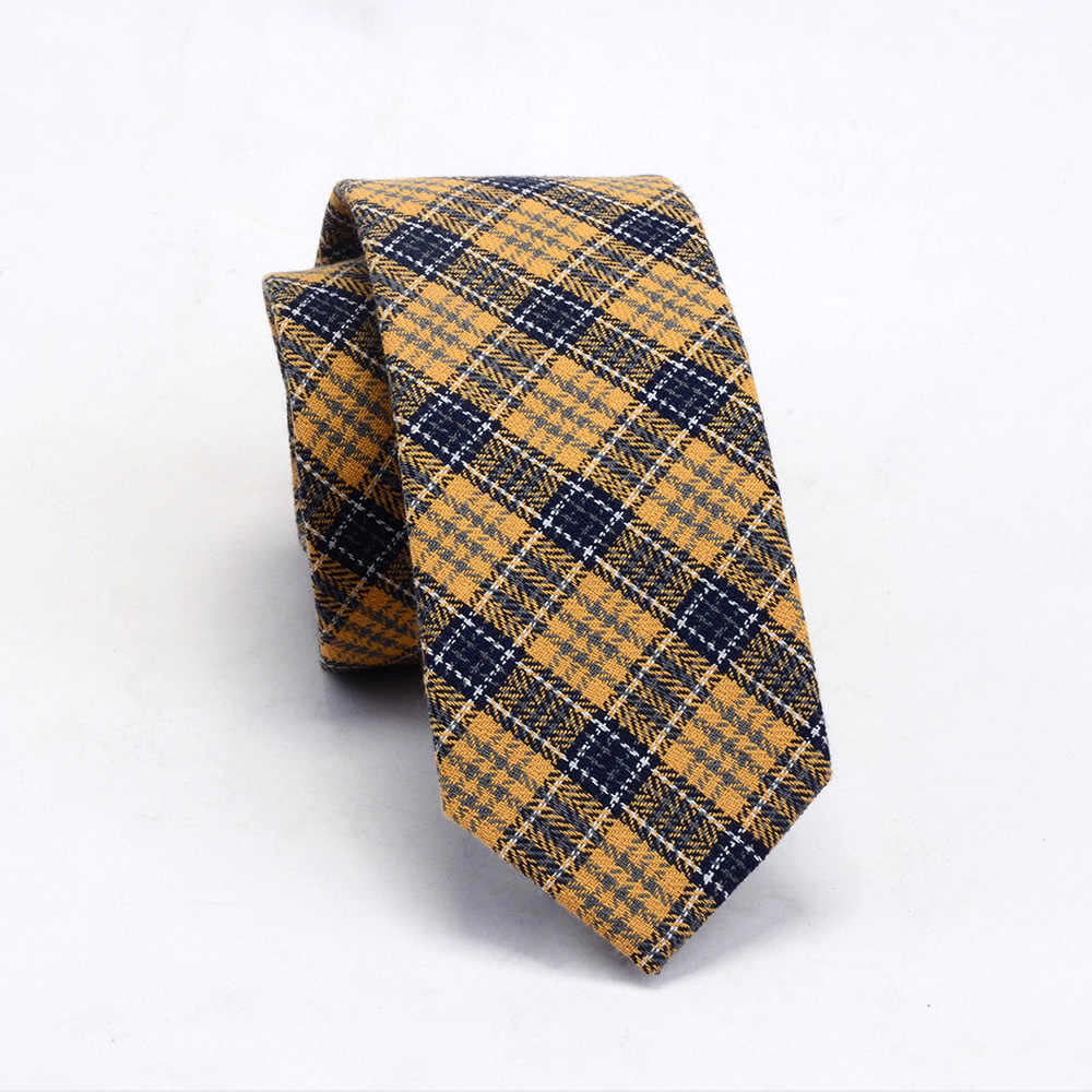 GUSLESON jakości bawełny wąski krawat moda 6cm wełny kaszmirowe krawaty dla mężczyzn krawat ślubny Skinny Plaid Corbatas party Gravatas