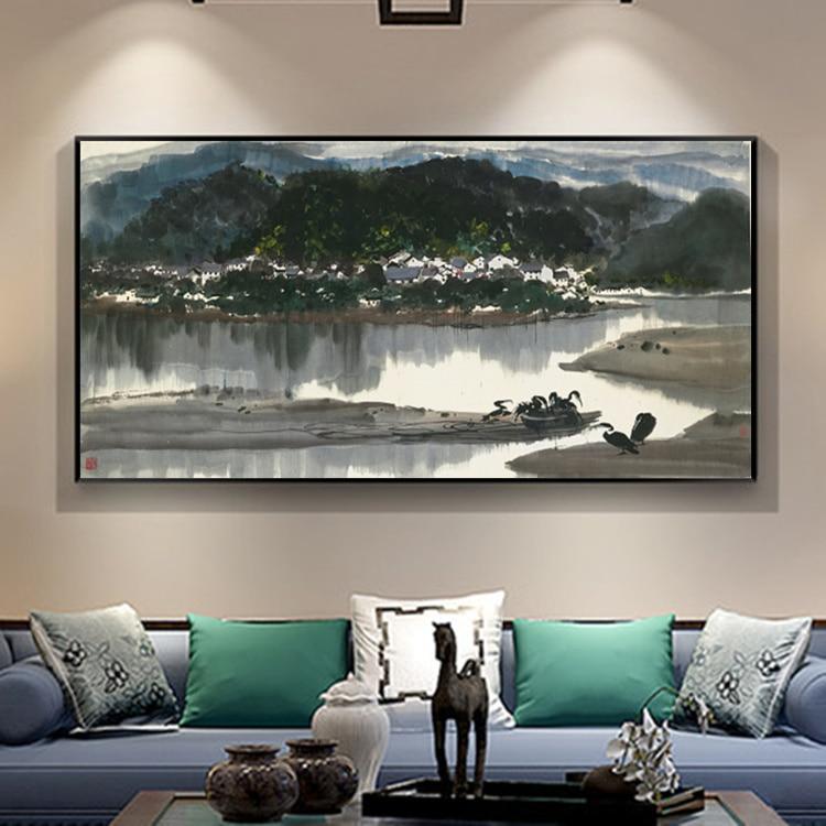 Wu Guanzhong kinesiska bläckmålning HD-utskrifter på Canvas Wall - Heminredning - Foto 4
